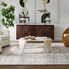 Vintage Floor Rug Floral Persian Allover Traditional Distressed Carpet Teal Grey