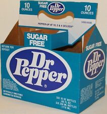 Vintage soda pop bottle carton DR PEPPER Sugar Free unused new old stock n-mint