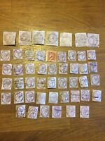 Large Collection Of QV Lilacs Pen Cancels 49 Stamps Off Paper Unchecked 1800's