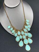Vintage Pale Turquoise Blue Faceted Cabochon Gold Statement Necklace Bohemian