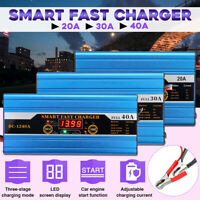 20A/30A/40A Smart Car Battery Charger LCD Lead-acid for Car Motorcycle Caravan