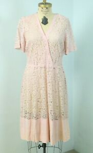 Vintage 30s Pink Sheer Lace Short Sleeve Day Dress with Linen trim Sz  M