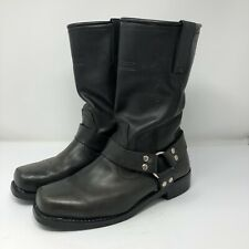 Womens motorcycle riding boots size 10.5 W Black buckle straps heel biker gear