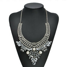 Women Fashion Crystal Noble Charm Choker Chunky Statement Bib Chain Necklace