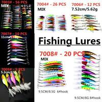 70 Kinds of Fishing Lures Crankbaits Hooks Minnow Baits Tackle Crank Set 5~100pc
