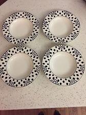 LOT 4 Large Rim Soup Bowls Wonderful World Timbuktu Villeroy & Boch Black White