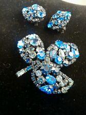 Stunning  vintage Austria blue crystal leave pin pendant  clip on  earrings set