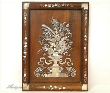 Tray in Wood Marquetry Mother-Of-Pearl Vase Flowers Jardin 19e
