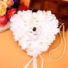 Cuscino Matrimonio Bianco Rose Forma Cuore Per Anelli Nozze Porta Fedi MI