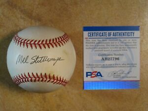 MEL STOTTLEMYRE (5X/AS) SIGNED AUTOGRAPHED RAWLINGS BALL NEW YORK YANKEES PSA
