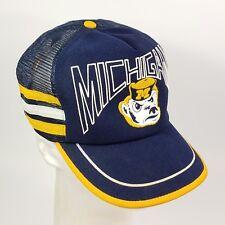 Vtg 80s University of Michigan Wolverines Trucker Hat Cap 3 Side Stripes USA