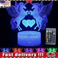 3D Illusion Unicorn LED Night Light 16 Color Touch/Remote Table Lamp Kids Gift