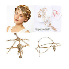 Rose Gold Pearl Fashion Headdress Headband Head Band Crown Chain Headpiece