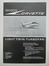 6/1969 PUB NORD SUD AVIATION SN 600 CORVETTE EXECUTIVE AIRCRAFT ORIGINAL AD