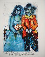 Raya SORKINE : La mariée bleue - Lithographie signée et numérotée
