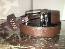 8016 Coach Mens Brown Signature Emboss Thin Leather Belt Reversible F55158