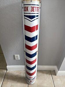 "48 "" ANTIQUE MARVY AMERICAN BARBER SHOP PATRIOTIC USA PORCELAIN SIGN HAIR Pole"