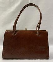 HAMILTON Vintage 1950s Well Loved Tan Leather Handbag Elbief Frame Suede Lining