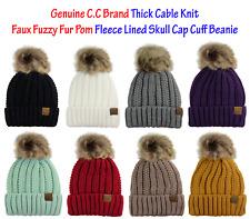 35db30dcd85 C.C Thick Cable Knit Faux Fuzzy Fur Pom Fleece Lined Skull Cap Cuff CC  Beanie