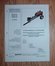 AGRI FAB 25-0126  LOG SPLITTER OWNERS MANUAL WITH PARTS LIST