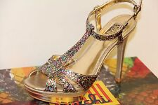 NIB FALCHI NATALIE High Heel Dress Pumps Sandals Shoes Sz 8 MULTI Light Gold
