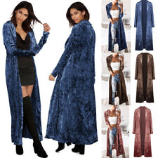 Womens Long Cardigan Crush Velvet Tops Windbreaker Ladies Overcoat Jacket Coat
