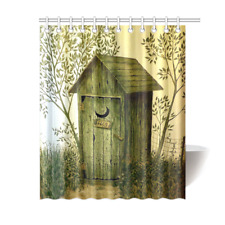 Outhouse Wooden House Bathroom Accessories Shower Curtain Bath Curtain