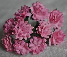 50 MEDIUM PINK ASTER daisy Mulberry Paper flower miniature cardmaking