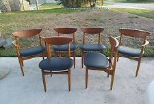 1960s Danish Modern SOLID TEAK Dining Chairs Wegner Mid Century SET 6 *WILL SHIP