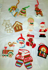 14-Vintage Handcrafted Needlepoint/Crocheted Plastic Canvas Christmas Ornaments
