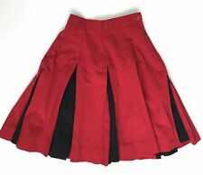 """Vintage Cheerleader Skirt Red Black Pleated Waist 21"""""""