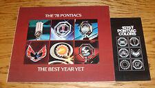 Original 1978 Pontiac Full Line Sales Brochure + Colors Brochure Lot of 2 78