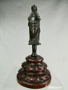 RARE SAINT PERSONNAGE BRONZE BAROQUE XVI-XVIIème RELIGION STATUE CRUCIFIX