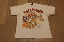 Vintage 90s Ren and Stimpy What Is It Man? Tee Size Large White T-shirt MTV 1992