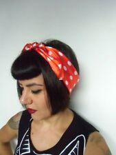 Foulard cheveux carré satiné 40% soie 60% polyester rouge pois blanc rétro pinup