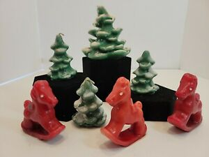 Vintage Gurley Standard Oil Wayside Candles Pine Trees Rocking Horse Novelty