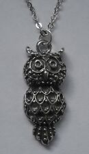Chain Necklace #1164 Pewter OWL (27mm x 11mm) BIRD PENDANT