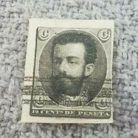 SPAIN 1870 KING AMADEO 12 Cents de Peseta BLACK IMP.