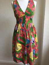 French Connection Pink Floral Pin Tuck Dress Rockabilly UK 10 Pin Up Summer