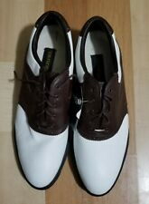 Mizuno Golf Shoes Soft-Trax 5934 White/Brown Leather Upper Waterproof Mens Sz 13