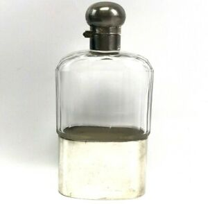 """Antique Silver-Plated & Cut Glass Perfume Bottle / 6 3/4"""" Corked Flask w/ Lid"""