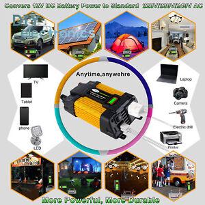 6000W Peaks Power 12V DC TO 110 220V AC Car Power Solar Converter US