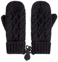 Ladies BLACK Knit Mittens Womens Elite Comfort Palm Soft Warm Lining Lined, NEW