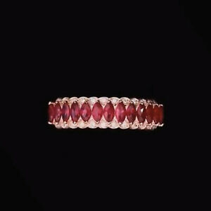 Solid 14k Rose Gold Blood Ruby Natural Diamond Engagement Ring Band Jewelry