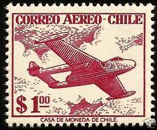 CHILE, AIR PLANE AND CLOUDS, MNH, YEAR 1955-56, CASA DE MONEDA DE CHILE