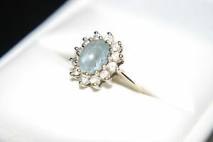 RRP £195 Sale £95 Blue Topaz and white stone cluster all claw set Appraisal .C.1