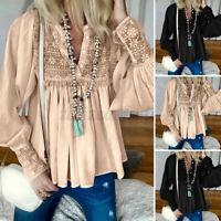 UK Women V Neck Lace Crochet Long Sleeve Casual Loose Tops Shirt Blouse Plus