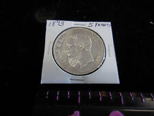 1873 Belgium 5 Francs Large 90% Silver Coin