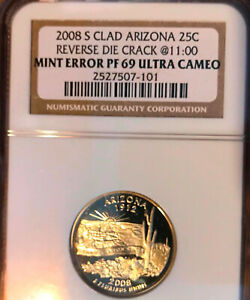 "2008 S ARIZONA PROOF DIE CRACK ""BREAK""  STATE QUARTER ERROR UCAM PR69 #2297"