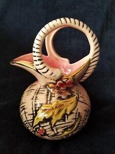Vintage Hull Art Pottery Jug Pitcher Blossom Flite T1 Pink Black Floral 1955